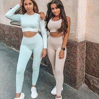 Toptan Yüksek Kalite Örme Dikişsiz Seksi Spor Giysileri kadın Sıkı Uydurma Tişört Sonbahar Kış Spor Giysileri Reveh Risper Y
