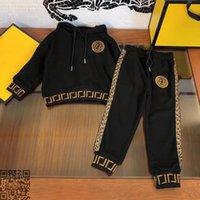 الخريف FF ماركة مجموعة ملابس الطفل fd الاطفال هوديس المقالي 2 قطعة الصبي البدلة عالية الجودة الأبيض الأطفال البدلة الرياضة الحجم 110-160 مصممين ملابس الاطفال