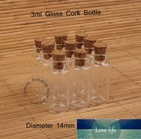 Promotion 50pcs Lot 3ml Glass Small Clear Cork Bottle Mini Vial For Wedding Holiday Decoration Wooden Lid Empty Pot Sample Jar