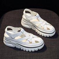 Sandals Leather Platform Women 2021 Summer Shoes Woman Flats Designer Female High Heels Beach Sandles