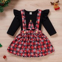 Clothing Sets Kids Girl Clothes Set Christmas Outfits Xmas Tree Snowflake Printed T-shirt Tops+ Plaid Suspender Skirts Toddler Baby