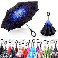 high quality and low price windproof anti-umbrella folding double-layer inverted umbrella self-reversing rainproof C-type hook hand HHF6603