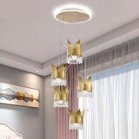 Tavan Işıkları Kristal Taç LED Işık Lüks Net Kırmızı Aydınlatma Prenses Kız Başucu Lambası Çocuk Odası Yatak Odası Lambaları