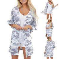 Zweiteilige Anzüge Frauen Mode Rüschen Camouflage Button Badeanzug Strand Coverall Cardigan Swimwear Cover Upjacke Plage Beachwear