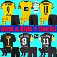 طفل الكبار Borussia 4th Dortmund Soccer Jersey 2021 2022 Haaland Reus Men Kid Kit 20 21 22 Bellingham Sancho Hummels Brandt Football Shirts مجموعة كاملة الجوارب الزي الرسمي