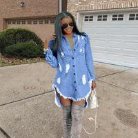 Womens Hiphop Denim Blue Jean Shirt Dress Spring Autumn Ripped Jeans Tassel Designer Dresses