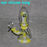 Straight Hookah Eye Silicone Bong Tobacco Smoking Percolators Removable Beaker unbreakable Glass Water Pipes Dab Rigs Recyclers With bowl For dry herb