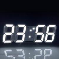 Cabinet light 3D LED Digital Clock Glowing Night Mode Brightness Adjustable Electronic Table Clockr 24 12 Hour Display Alarm Clocks Wall Hanging CRESTECH168