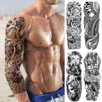 Büyük Kol Kol Tattoo Saat Gül Çapraz Ejderha Su Geçirmez Geçici Tatto Sticker Poker Aslan Vücut Sanatı Tam Sahte Dövme Kadın Erkek