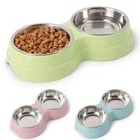 Çift Pet Kaseler Köpek Su Besleyici Paslanmaz Çelik İçme Çanak Kedi Yavru Besleme Malzemeleri Küçük Aksesuarlar Besleyiciler