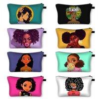 Meninas Afro Pretas Fazendo Bag Bolsa Impermeável para Senhoras Multi-Funcional Travel Funcional Bag Zipper Bolsa De Embraiagem Bag 28 Cores
