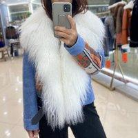 여성 모피 가짜 양피 코트 여성 데님 재킷 천연 양고기 칼라 양모 라이너 outwear 패션 따뜻한 슬림 코트