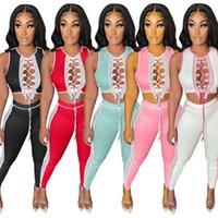 2022 Women's Two Piece Pants Summer Women Fashion Sexy Irregular Lace Up Strap Splicing Gauze Woman Hollow Hot Bodycon Sport Partywear