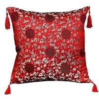 Kissen / dekorative Kissen Vintage Quaste Jacquard Chinesische Kissenbezug Luxus Dekorative Abdeckungen Blumenklassiker Seiden-Satin-Gehäuse