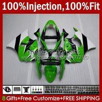 OEM Green White New Molde de inyección para Kawasaki Ninja ZZR600 600cc Cuerpo 100% FIT 600 CC 05-08 Carrocería 38HC.147 ZZR 600 05 06 07 08 ZZR-600 2005 2006 2007 2008 Full Fairing