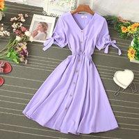 2021 Single Breasted Donne Dress Vintage Dress Summer Breve Suovello a soffio A-Line Vestidos Casual Sexy V-Collo V-Collo Viola / Bianco Abiti Femmina