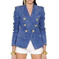 Women's Wool & Blends High street fashion designer blazer women's jacket double-sided lion metal buttons breasted denir outer coat U2KF
