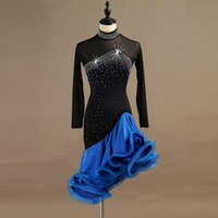 Stage Wear Sexy Backless Long Sleeves Black Blue Tango Cha Ballroom Dance Dress Rhinestone Ruffle Salsa Competition Skirts