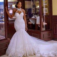 Fishtail sexy light wedding dress sleeveless V-neck sling main backless large Wedding Dress White Lace Waist
