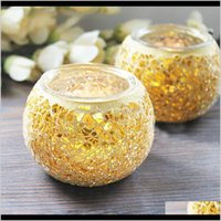 Décor & Gardenspherical Gold Glass Holders Mosaic Crack Candlestick Home Decor Dinner Wedding Party Gifts Bar Decoration No Candle Drop Deliv