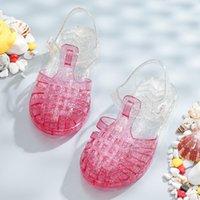 Sandales pour enfants filles chaussures romaines gel chaussures fermées pinces princesse chaussures de fond doux coupe garçons couleur assortie plage été