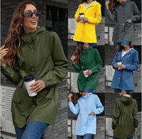Women's Jackets Zipper Raincoat Outdoor Mountaineering Suit Medium Length Windbreaker Jacket Coat Top Woman