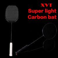 XVT 28-30LBS 4U المهنية الكربون الأسود / كامل ألياف الكربون سوبر مضرب الريشة مع مقبض قبضة 2pcs / lot