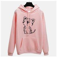 Cute Pink Cat Kawaii Hoodie Women Sweatshirt Yellow Poleron Mujer 2021 Kangaroo Pocket Grey Tracksuit Pullover Women's Hoodies & Sweatshirts