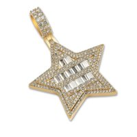 Pendant Necklaces Fashion Charm Hip Hop Jewelry Micro Paved Cubic Zirconia Bling Iced Out Star Necklace Rapper Gift For Women Men