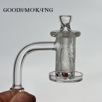 Quartz spinner banger set Smoke with Beveled edge and deep carving pattern on the bowl + 1 glass terp pearl+carb cap+ cone for dab rig water Pipe Bongs Hookahs