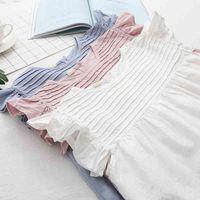 Women's Blouses & Shirts 3 Colors-- 2021 Summer Lamtrip Unique Ruffles Flying Sleeve Pleated Shirt Lolita Top Mori Girl X5UW