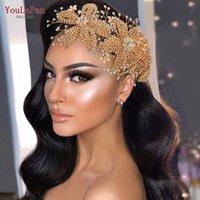 YouLapan HP252 Goldene Bridal Crown Tiara Hochzeit Haarschmuck Accessorie Luxus Kristall Headwear 210616