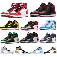 2021 Jumpman jordan 1 Basketball Shoes Running shoes basket Hight basso taglio Atletica Sneakers Scarpa da corsa per le donne Sport Torcia Royal Pine Green EUR 36-46