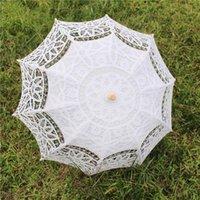 Ventiladores parasoles sol paraguas parasol bordado encaje novia blanco marfil boda ombrelle dentelle parapluie mariage decorativo