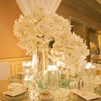 Fleurs décoratives Couronnes Belle 78cm Longueur Soie artificielle Phalaenopsis Papillon Orchidée Orchidée Feuille Fleur Arrangement pour Wedding Bir