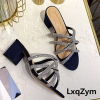 Slippers Blingbling Open Toe Narrow Band Twist Crystals Sandals Women Square High Heel Slingbacks Diamond Summer Mules Lady Party Dress