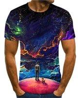 2020 Moda Sıcak 3D T-shirt Erkek Yaz Baskı Bilim Kurgu Gece Aurora Su T-Shirt 3D Psychedelic T-shirt S-6XL