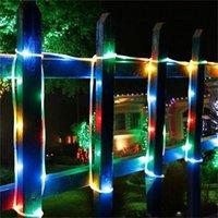 Solar Sensor Strip Lights Street Garland Decors For Garden Patio Trees Outdoor Fairy Lighting String Copper Wire Tube Light LED Strips