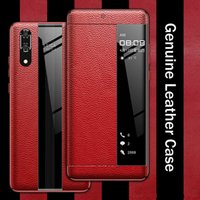 Luxury Genuine Leather Flip Cases For Huawei Mate20 P20 P30 Pro Touch Protector Cover Cell Phone Case Smart View 360 Protective