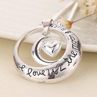 La fête des pères, je t'aime 2 la lune et le cercle arrière avec le coeur pendentif collier collier 159 U2