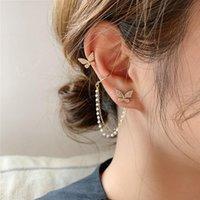 Stud Lifefontier Cute Rhinestone Butterfly Earrings For Women Metal Chain Asymmetric Korean Fashion Jewelry Girls Gifts