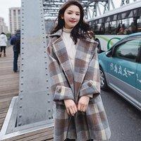 Women's Wool & Blends Fashion England Style Long Plaid Women Jacket Turn-down Collar Full Sleeve Comfortable Korean Coats