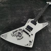 James Hetfield Metallica MX 250 Papa Het Blanco Explorer Guitarra Elctric Guitar China Pickups activa Caja de batería de 9V, Hardware negro