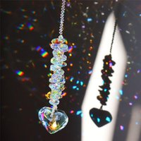 Obiekty dekoracyjne Figurki AB Kolorowe Serce K9 Crystal Suncatcher Handmade Rainbow Maker Prism Wind Chanes Chandelier do okna Hangin
