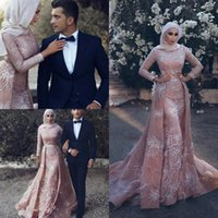 New Muslim Elegant Dresses Evening Wear Long Luxury Mermaid Evening Gowns With Train Sweep Train Sash Lace Applique Beads Prom Dr