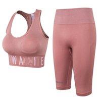 WT009-розовые бесшовные наборы тренировки для женщин ребристых спортивных бюстгальтеров высокая талия бегущие шорты тренажерный зал 2 шт наборы йоги