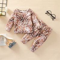 Clothing Sets Baby Boys Girls Spring Fall 2Pcs Clothes Set, Deer Pattern Printed Pullover Tops And Elastic Waist Pants 3Months-4Years 103 H1