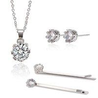 Charms Bride Diadema Gioielli gioielli set intarsiato zirconi temperamento corona orecchini orecchini collana clip per capelli pariali bijoux 2021