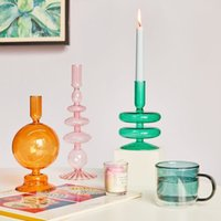 Floriddle Taper Candle Holders Glass Candlesticks for Home Wedding Housewarming Party Glass Vase Table Bookshelf Decoration