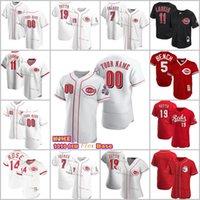 Jersey de baseball Cincinnati 11 Barry Larkin 19 Joey Votto 5 Johnny Banc 30 Ken Griffey JR 17 Chris Sabo 14 Pete Rose 66 Jerseys Hommes